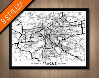Every Road in Prague map art | Printable Czech Republic map print, Prague print, Prague poster, Prague art, Prague wall art, Printable art