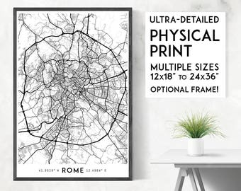Every Road in Rome print | Physical Rome map print, Rome poster, Rome wall art, Rome map art, Italy map, Italy print, Rome art, Rome gift