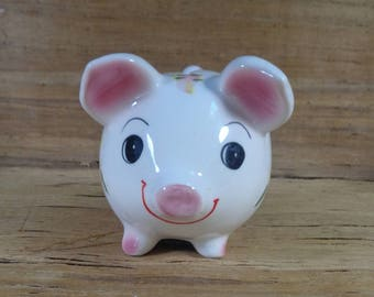 Vintage Baby's First Piggy Bank, Coin Bank, Nursery Decor, Pig Collection, Baby's Room, Cute Hand Painted Ceramic Pink Green & Yellow Piggy