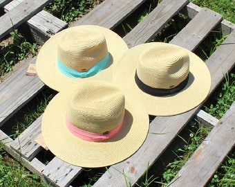 Straw Brim Hat with Color Ribbon(DK.NATURAL/BLACK)