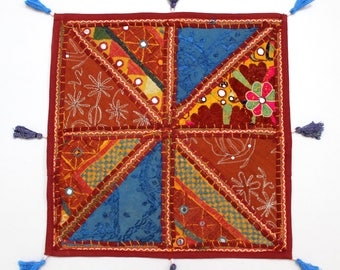 Handmade Hippie Gypsy Home Decor Ethnic Multi color Embroidered Hippy Patchwork Bohemian Pillow Shams Couch Cushion Cover Case G741