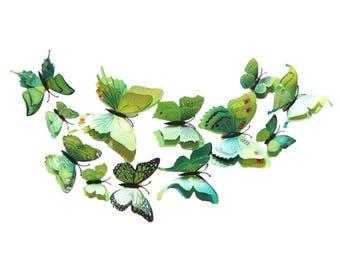 12pcs 6 big+ 6 small PVC 3d Butterfly Tatoos Wall Sticker