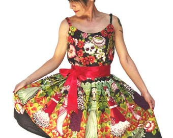 Rock Couture pin-up style dress with skulls and Frida Kahlo-For Alternative Women vintage style dress, Dress, dress Rockabilly pin up