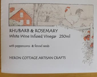 Rhubarb & Rosemary Infused White Wine Vinegar. 250ml. Great teas and great condiments.