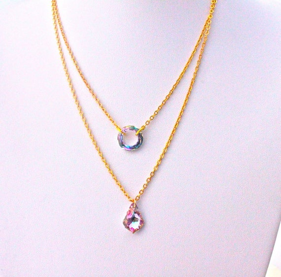 Bridal necklace double chain plated gold with swarovski elements