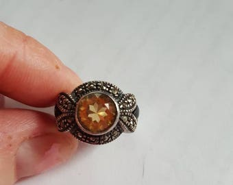 Vintage Sterling Silver Marcasite, Onyx, Citrine Stone Ring - Size 5.75