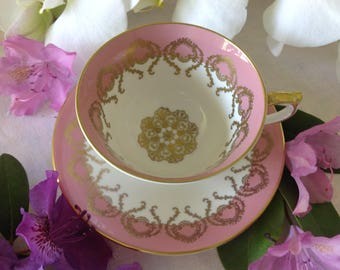 Pink and Gold Aynsley Tea Cup and Saucer, Gold Filigree Swags and Centre Medallion, England, Bone China