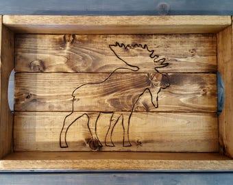 Wood Moose Serving Tray