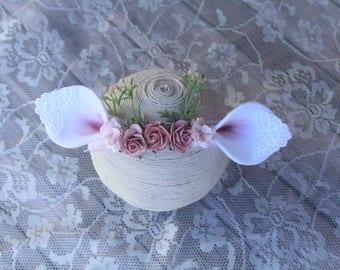 Baby Fawn Ears - Baby Deer Headband - Baby Deer Floral Headband - Deer Photo Prop