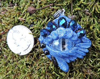 Whimsical OOAK Blue Dragon Eye Polymer Clay and Glass Pendant