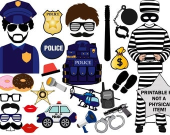 "Printable Police Robber Photo Booth Props: ""POLICE PARTY"" Cops and robbers Party,Thief Printable Props,Police Birthday Prop,Police and Thief"