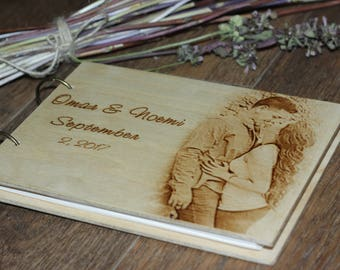 Personalized Guest book,love story, Love photo album, Guest book, photo album, wood album