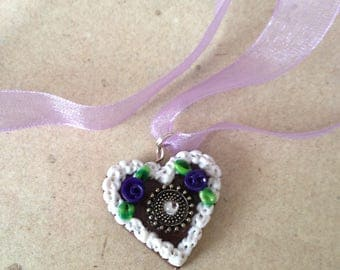 Necklace heart purple, lilac