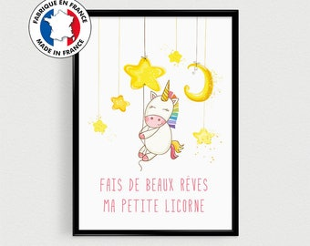"""Inspirational Unicorn for baby room - Poster Scandinavian quote """"Make my little Unicorn dreams"""""""