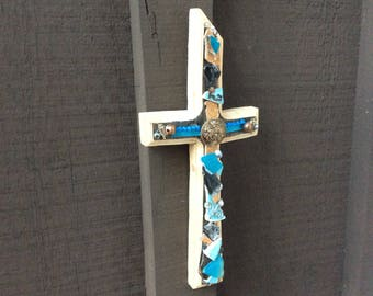 Cool & Elegant Cross decorated with antique jewels, ceramic, beads..great gift!
