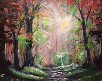 Morning glow - oil/acrylic painting - fall trees - wall art - by U.S. artist Greg Gilreath