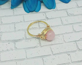 Rose Quartz Wire Wrapped Ring, Wire Wrapped Ring, Rose Quartz Ring, Rose Quart, Ring, Wire Ring, Gold Plated, Gold Plated Ring