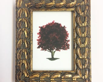 2.5x3.5 Mini Cherry Plum Tree Glicée Print with Gold Rustic Frame