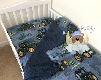 Toddler Bedding Set Tractor Toddler Bedding Blanket Tractor Fitted Sheet Pillow Case 100% Cotton Toddler Bedding