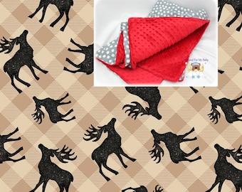 Woodland Crib Blanket Deer Plaid Blanket Woodland Bedding Cotton Minky Blanket Woodland Nursery Lap Blanket