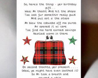 Scottish Birthday 'Cobwebs aff ma Purse' Card WWBI130