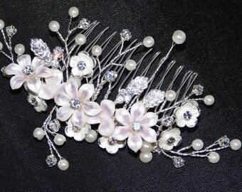 Hair Comb Porcelain Lilac Pink Roses, CZ & Pearl Hair Bridal Accessories