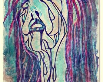 Tears Noir watercolor painting art print