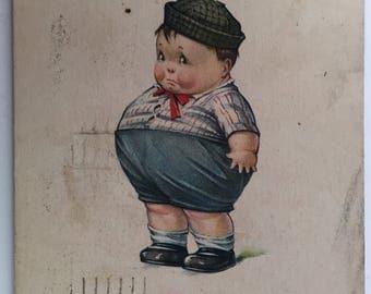 Vintage C.H. Twelvetrees Post Card - Artist Signed - Comic Card - No. 66 - Cute Chubby Boy