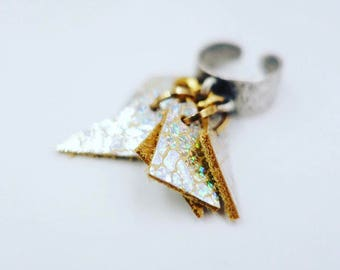 Iridescent Silver/Yellow Leather Charms Ring (adjustable)