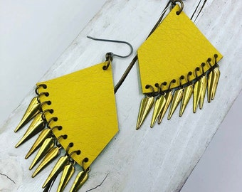 Yellow Leather Earrings w/ Gold Charms