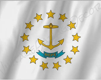 Rhode Island State Flag on a Metal Sign