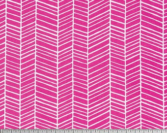 One Yard Cut - Herringbone in Fuschia - Basic Colors by Joel Dewberry for Free Spirit -  Quilters Cotton - Fabric by the Yard