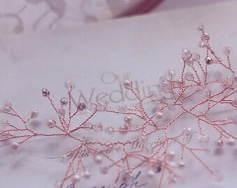 rose gold vine Crystals Bridal Wedding Headband Bridal Headpiece Hairpiece Bridal Hair Vine Bridal Wreath Bridal Tiara Diadem crystals vine