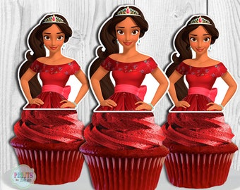 Elena of Avalor Cupcake Toppers, Elena of Avalor Cake Pop Toppers, Elena of Avalor Cupcake Picks