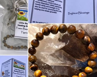 Tigers Eye Power Bead Crystal Bracelet - Healing Crystal Gemstone Bracelet - Size choices - Information Gift Tag