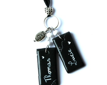 Black and white necklace with customizable names