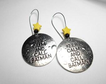 Geek nerd - Keep calm and Call Batman earrings