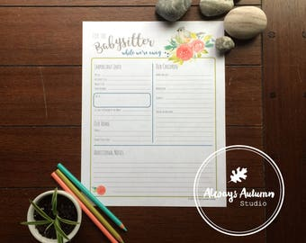 Printable Babysitter Information Sheet - Tufted Titmouse Bird and Watercolor Roses