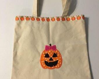 Girl Pumpking Trick or Treat Bag