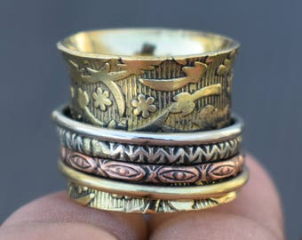 Ethnic spinning rings | Brass spinner jewelry ring | Wide yoga ring | 3 Tone metal ring | Handmade Fusion rings | Birthday Gift Ring | R226