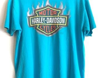 1990 3D Emblem HARLEY DAVIDSON Clint Eastwood High Plains Clovis New Mexico Distressed Vintage T Shirt // Xlarge
