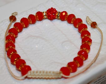 Beautiful  Exquisite crystal & glass-beaded bracelet in red and gold colors for Chinese new-year; handmade, shamballa, beadweaving