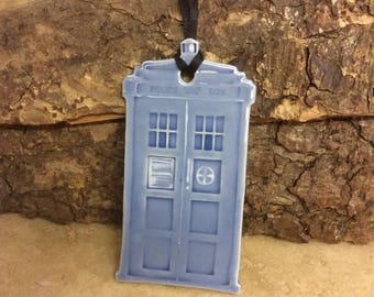Ceramic Tardis inspired decoration/ gift tag