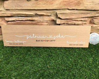 Solid oak wooden family name sign, family sign, personalised sign, solid wood, Valentine's Day, children, home decor, wedding, engagement