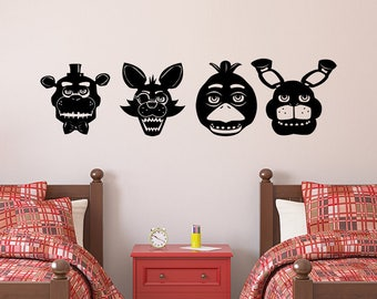 Five Nights At Freddys Vinyl Wall Decal Sticker Group - Select Your Character-  Fazbear, Bonnie, Chica, Foxy