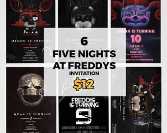 Five Night At Freddys Invitation, Five Nights At Freddys Party Supplies, Fnaf Sister Location, Fnaf Invitation, 6 Total Invitations, FNAF