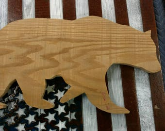 Grizzly Bear - Pallet Wall Art - White oak - Unfinished - Unsanded