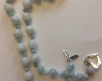 Honor the full-moon with this Beautiful Moonstone and Aquamarine Beaded Necklace with Sterling Silver Artisan Clasp!