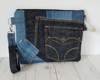 Denim Clutch Purse, Clutch Bag, Clutch Wristlet, Clutch handbag, Jean Purse, Upcycled bag, Zebra  Print, Gift for women, Birthday Gift