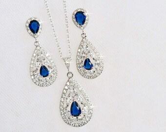 Striking Sapphire Blue Cubic Zirconia CZ Bridal Necklace and Earring Set, Bridal, Wedding (Sparkle-2304)